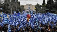 La manifestation contre le nouveau nom de la Macédoine a rassemblé 60.000 personnes selon la police, 100.000 selon les organisateurs, le 20 janvier 2019 à Athènes [LOUISA GOULIAMAKI / AFP]