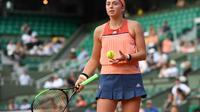 La Lettonne Jelena Ostapenko, gagnante de Roland-Garros en 2017, éliminée dès le premier tour le 27 mai 2018 [Christophe ARCHAMBAULT / AFP]