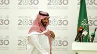 """Le prince héritier saoudien Mohammed ben Salmane lors d'une conférence de presse pour présenter son plan """"Vision 2030"""" à Ryad, le 25 avril 2016 [FAYEZ NURELDINE / AFP/Archives]"""