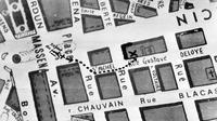 Plan qui a servi aux cambrioleurs pour dévaliser la salle de coffres de la Société Générale à Nice, le 18 juillet 1976 [- / AFP/Archives]