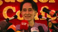 L'opposante birmane Aung San Suu Kyi, le 5 novembre 2015 à Rangoun [ROMEO GACAD / AFP]