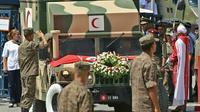 L'ambulance transportant le corps du président tunisien Béji Caïd Essebsi quitte l'hôpital militaire de Tunis le 26 juillet 2019 [ANIS MILI / AFP]