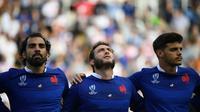 Les joueurs de l'équipe de France avant le match contre les Etats-Unis, le 2 octobre 2019 à Fukuoka. [FRANCK FIFE / AFP/Archives]