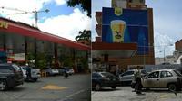 Montage photo montrant, à droite, une station service à Caracas, le 25 juillet 2019, et, à gauche, une station service à Maracaibo le 23 juillet 2019 [Yuri CORTEZ, Federico PARRA / AFP]