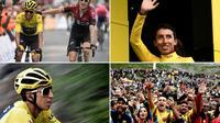 Photo montage axée sur le Colombien Egan Bernal, maillot jaune du Tour de France,  lors de la 20e étape, le 27 juillet 2019 à Val Thorens  [Anne-Christine POUJOULAT            , Jeff PACHOUD, Marco BERTORELLO / AFP]