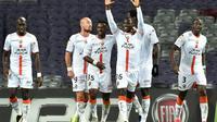 Les joueurs de Lorient célèbrent la vitoire à Toulouse en Coupe de la Ligue, le 31 octobre  [REMY GABALDA / AFP]