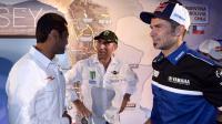 Vainqueur de la première étape du Dakar 2015 au volant d'une Mini,  le Qatari Nasser Al-Attiyah (à gauche) doit faire face à la concurrence des Peugeot de Stéphane Péterhansel (au centre) et Cyril Desprès (à droite).