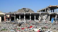Destruction dans un quartier de Ramadi après des affrontements entre les forces irakiennes et les jihadistes, le 25 décembre 2015 [STR / AFP]