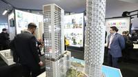 Des maquettes d'immeubles exposées au Marché international des professionnels de l'immobilier (Mipim), le 12 mars 2019 à Cannes [VALERY HACHE / AFP/Archives]