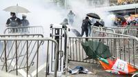 Affrontement entre police et manifestants à Hong Kong, le 12 juin 2019 [DALE DE LA REY / AFP]