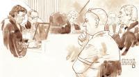 """Croquis représentant, au premier plan, le """"dentiste de l'horreur"""" Mark Van Nierop, lors de son procès le 24 octobre 2014, à Amsterdam (Pays-Bas)."""