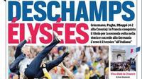 «Deschamps Élysées» en une du Corriere dello Sport, en Italie, le lendemain de la victoire des Bleus.