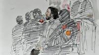 Croquis d'audience de Salah Abdeslam lors de sa comparution à Bruxelles le 5 février 2018 [Benoit PEYRUCQ / AFP]
