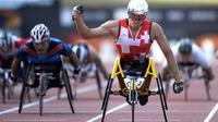 Le Suisse Marcel Hug, lors des Championnats du monde d'athlétisme handisport de Lyon, le 26 juillet 2013 [Philippe Desmazes / AFP]
