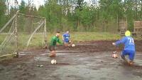 Du football dans la boue en Russie