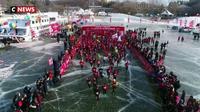 Chine : une course sur un lac glacé