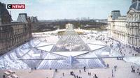 Louvre : JR fait surgir par anamorphose la Pyramide de ses fondements