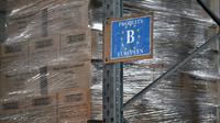 Des produits achetés grâce au Fonds européen d'aide aux plus démunis, dans les entrepôts des Restos du Coeur de Strasbourg, le 10 mai 2019 [PATRICK HERTZOG / AFP/Archives]