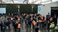Des salariés de l'aciérie Ascoval, le 19 décembre 2018 à Saint-Saulve, dans le Nord [FRANCOIS LO PRESTI / AFP/Archives]