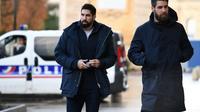 Nikola Karabatic et son frère Luka Karabatic à leur arrivée le 24 novembre 2016 au palais de justice de Montpellier [PASCAL GUYOT / AFP/Archives]