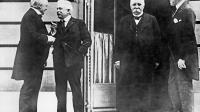 """Photo prise le 18 janvier 1919 à Paris lors de l'ouverture de la Conférence de la paix du """"Conseil des Quatre"""", Lloyd George (G), Premier Ministre britannique, Vittorio Orlando (2ème G), président du Conseil italien, Georges Clémenceau (2ème D), président du Conseil français, et Woodrow Wilson, Président des Etats-Unis.  [ / AFP/Archives]"""