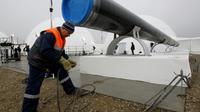Construction d'un pipeline pour acheminer du gaz russe en Europe, à Anapa, en Russie, le 7 décembre 2012 [SERGEI KARPUKHIN / POOL/AFP/Archives]
