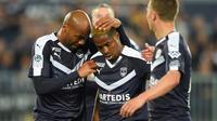 L'attaquant de Bordeaux François Kamano (c) buteur lors de la victoire 2-0 à domicile sur Marseille en 31e journée de L1 le 5 avril 2019 [NICOLAS TUCAT / AFP]