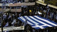Manifestation à Athènes pour protester contre l'accord sur le nouveau nom de la Macédoine, le 20 janvier 2019  [ARIS MESSINIS / AFP]