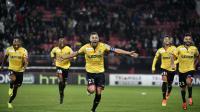 Les joueurs de Sochaux qualifiés aux tirs au but à Dijon pour les 8e de finale de la Coupe de la Ligue, le 26 octobre 2016 [JEFF PACHOUD / AFP]