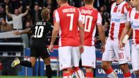 Neymar après un but pour le PSG face à l'Etoile Rouge de Belgrade, le 3 octobre 2018 au Parc des Princes [Anne-Christine POUJOULAT             / AFP/Archives]