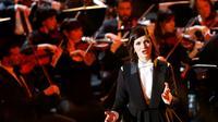 """La mezzo-soprano Marianne Crebassa lors des """"Victoires de la musique classique"""" le 1er février 2017 [FRANCOIS GUILLOT / AFP]"""