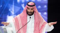 Le prince héritier d'Arabie saoudite Mohammed ben Salmane au forum Future Investment Initiative (FII) à Ryad, le 24 octobre 2018 [Bandar AL-JALOUD / Saudi Royal Palace/AFP/Archives]