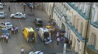 Photo fournie par le Centre de surveillance du trafic routier montrant le lieu près de la place Rouge à Moscou où un taxi a heurté des passants, le 16 juin 2018 [- / CODD/AFP]