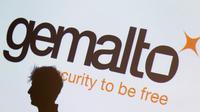 Le logo de Gemalto, spécialiste de la cybersécutié, photographié à Paris, en février 2015 [KENZO TRIBOUILLARD / AFP/Archives]