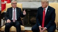 Le président américain Donald Trump avec le président de la Commission européenne Jean-Claude Juncker à la Maison Blanche à Washington, le 25 juillet 2018 [SAUL LOEB / AFP]
