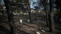 Une table et des chaises brûlées dans un jardinaprès l'incendie meurtrier qui a dévasté Mat, le 24 juillet 2018  près d'Athènes [ANGELOS TZORTZINIS / AFP]