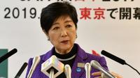 La gouverneure de Tokyo, Yuriko Koike, en conférence de presse à l'issue d'une réunion avec des responsables olympiques et les organisateurs des JO-2020, le 1er novembre 2019 [Toshifumi KITAMURA / AFP]
