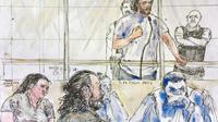 Croquis d'audience du 25 juin 2018 montrant Farid Rettoun (2e g), son fils Samy (en haut au centre), sa femme Sana (à g), et ses avocats lors de son procès devant le tribunal correctionnel de Paris  [Benoit PEYRUCQ / AFP]