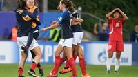 L'équipe de France féminine des moins de 20 ans a écarté la Corée du Nord, en quarts de finale, le 16 août 2018 à Concarneau [Fred TANNEAU / AFP/Archives]