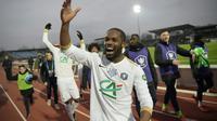 Les joueurs de l'Entente Sannois Saint-Gratien lors de la victoire face à Montpellier en 32e de finale de Coupe de France le 5 janvier 2019 [Lucas BARIOULET / AFP]