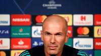 Zinédine Zidane, l'entraîneur français du Real Madrid, à la veille du match de Ligue des champions contre le PSG, le 17 septembre 2019 à Paris [GEOFFROY VAN DER HASSELT / AFP]