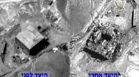 Image fournie le 20 mars 2018 par l'armée israélienne montrant, d'après elle, le site d'un présumé réacteur nucléaire syrien vu du ciel avant et après une frappe israélienne en 2007. [- / Israeli Army/AFP]