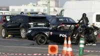 Le véhicule de police et le 4x4 qui l'a percuté, le 21 février 2013 sur le périphérique porte de la Chapelle à Paris [KENZO TRIBOUILLARD / AFP/Archives]