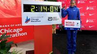 La Kényane Brigid Kosgei victorieuse du marathon de Chicago, record du monde à la clé, le 13 octobre 2019 [Quinn Harris / Getty/AFP]