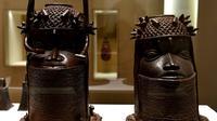 Des représentations royales datant de la fin du 18e siècle au Bénin, exposée au musée du Quai Branly, le 18 juin 2018 à Paris [GERARD JULIEN / AFP]