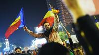 Manifestation contre la corruption de la classe politique roumaine, le 5 novembre 2015 à Bucarest [DANIEL MIHAILESCU / AFP]