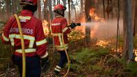 Des pompiers portugais luttent contre un incendie le 10 août 2016 à Macinhata do Vouga au centre du POrtugal [FRANCISCO LEONG / AFP/Archives]