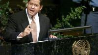 L'ancien président du Salvador, Francisco Flores, à la tribune des Nations Unies à New York, le 25 septembre 1999 [MATT CAMPBELL / AFP/Archives]