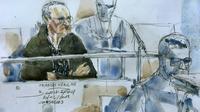 Croquis d'audience de Francis Heaulme au tribunal de Versailles, le 20 décembre 2018 [Benoit PEYRUCQ / AFP]