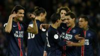 La joie des Parisiens après l'ouverture du score contre Troyes signée Edinson Cavani, le 28 novembre 2015 [FRANCK FIFE / AFP]